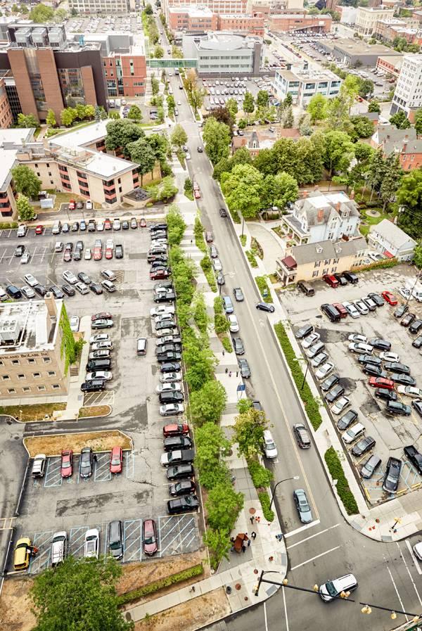 Buffalo Niagara Medical Campus Turns Sidewalk Into Awesome Park Urban Landscape Design Streetscape Design Urban Design Plan