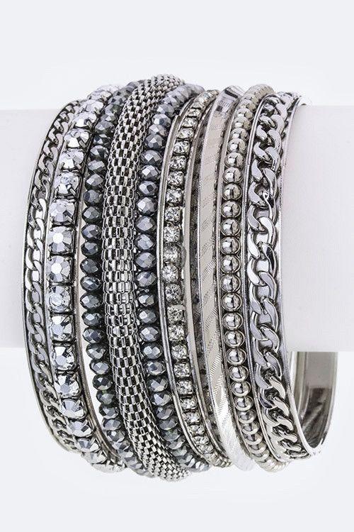 Bead Chain Bangles Set