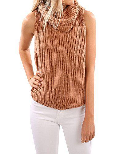 e537e31676646c Wollsolo Women s Sleeveless Cowl Neck Turtleneck Knit Pullover Sweater Tank  Top Vest