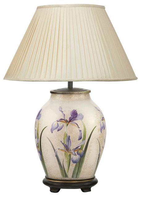 Purple Iris Medium Oval Table Lamp With Shade Jenny Worrall In