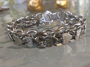 SOLD VINTAGE DESIGNER Stainless Steel Double Curb Link Heart Charm Bracelet Jewelry