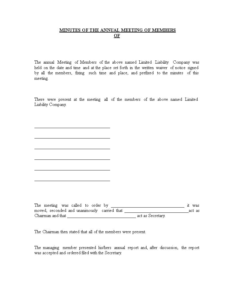 Annual Corporate Meeting Minutes Templates At With Llc Annual Report Template Best Sample Template Annual Report Report Template Corporate Meeting