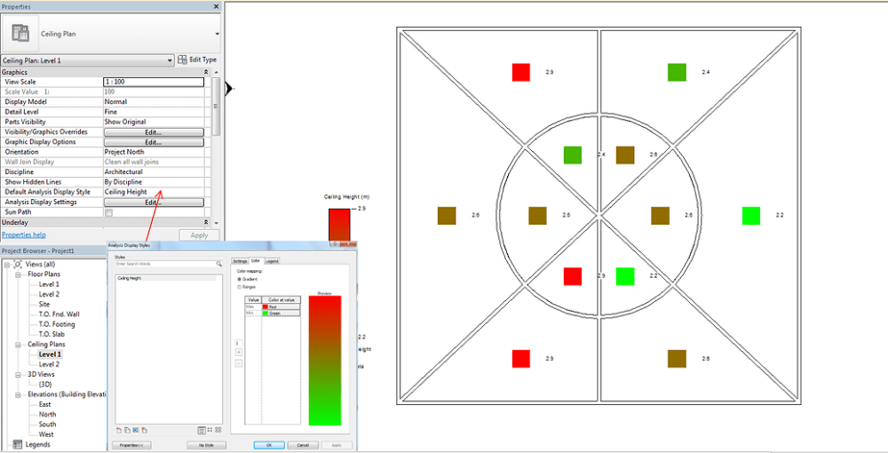 Generate color legend for ceiling heights Revit Dynamo