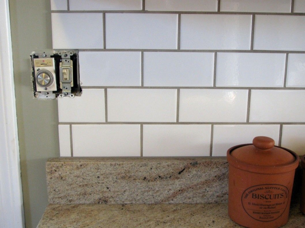 Subway tile, Kashmir White granite, and oyster grey grout | kitchen ...