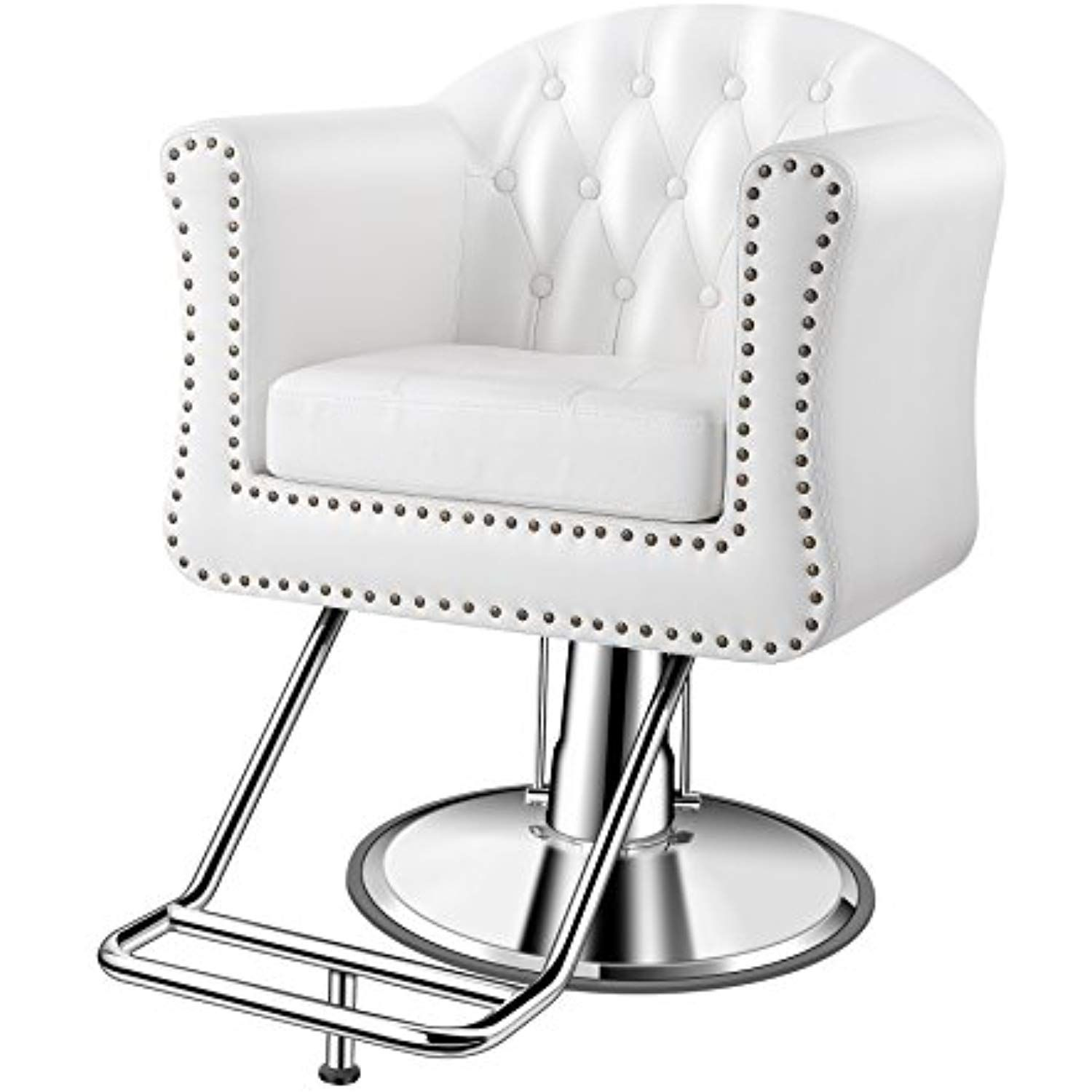 Baasha Luxury Classic White Styling Chair For Hair Salon All Purpose Square Salon Chair With Hydraulic Pum Salon Styling Chairs Hair Salon Chairs Salon Chairs