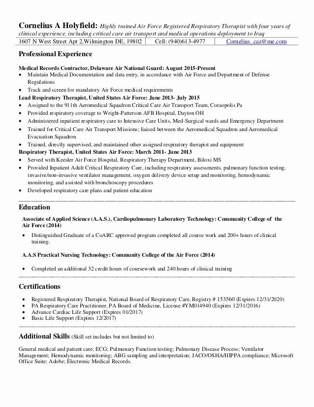 Respiratory Therapist Skills Resume Elegant Rrt Resume 2 In 2020 Resume Skills Sample Resume Patient Care Technician