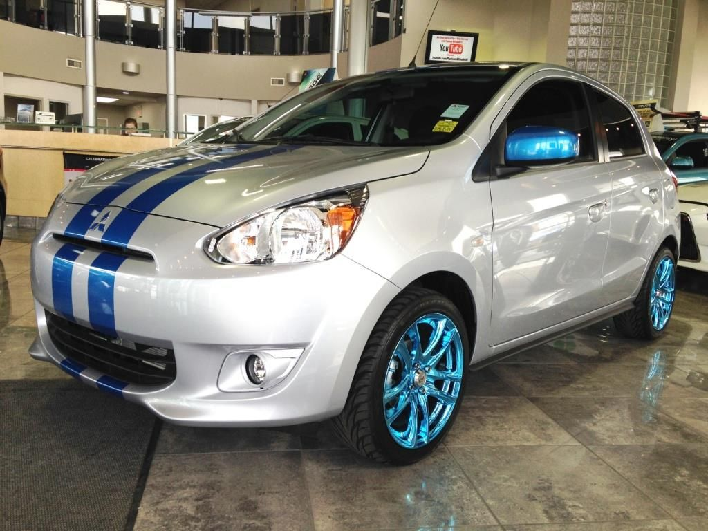 Hard To Tell From The Light But We Actually Had The Stripe Wheels Color Matched To Add Some Eye Popping Color Mitsubishi Mitsubishi Mirage Mitsubishi Motors