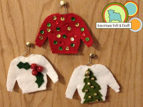 2538- Decoración navidad fieltro Ugly Christmas Sweater Ornaments