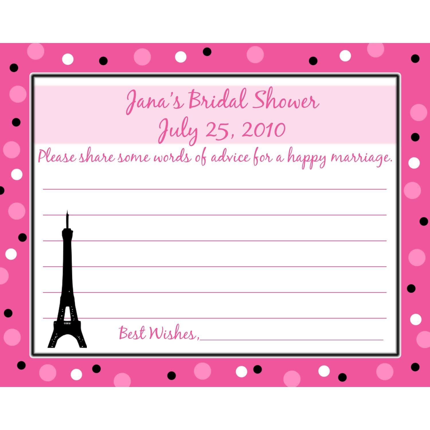 Bridal Shower Wedding Advice Cards #bridal #shower #wedding #advice ...