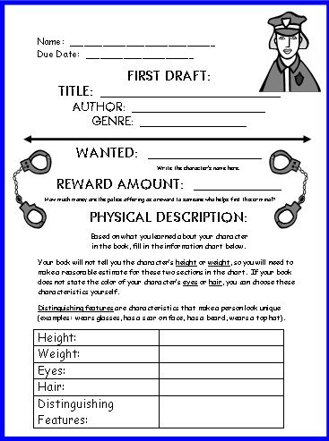 Wanted Poster Book Report Project templates, worksheets, rubric - crime report template