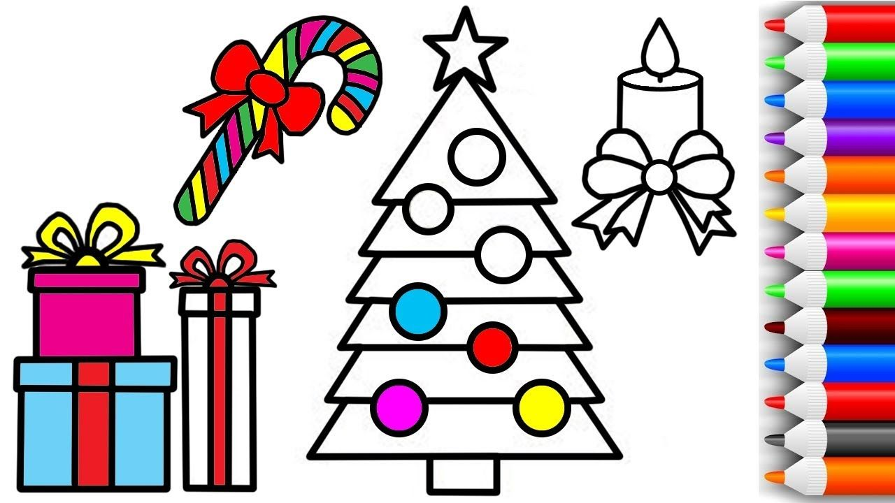 Color Christmas Pictures To Draw.How To Draw And Color Christmas Tree Gifts Candy And