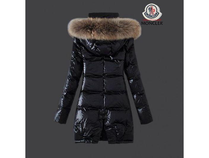 info for 35286 a5e8d sale Moncler Damen Chic schwarze lange Daunen mantel Pelz ...