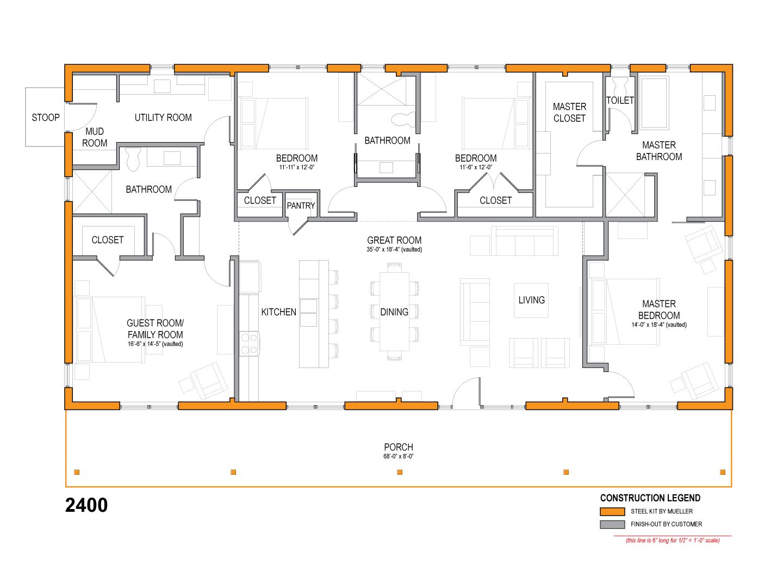 Homestead Series 2400 Mueller Inc Metal Homes Floor Plans House Floor Plans Metal Buildings