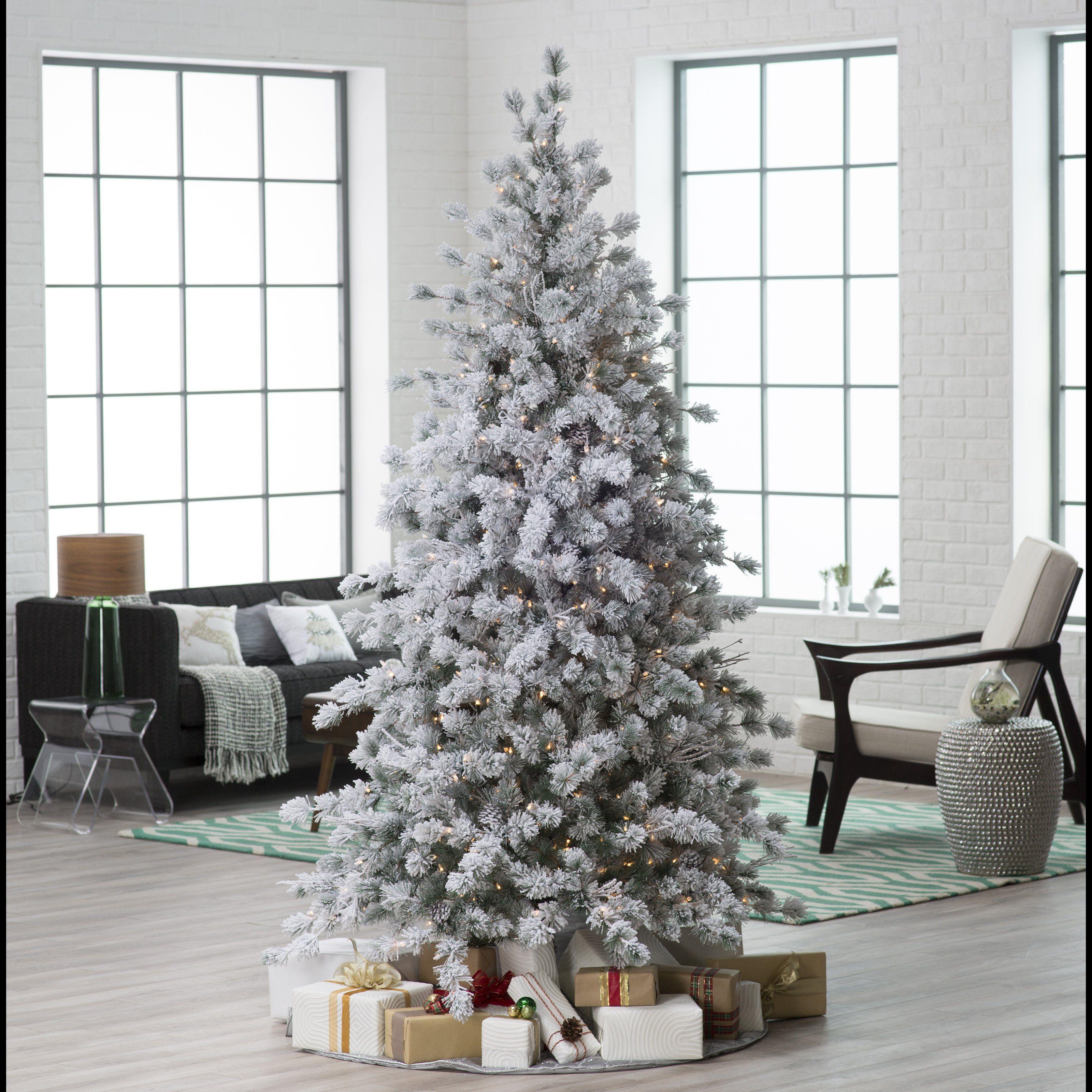 7 5 Ft Pre Lit Flocked Hard Needle Huntsville Pine Christmas Tree With Pinecones Am Www Haynee Pine Christmas Tree Christmas Tree Pre Lit Christmas Tree