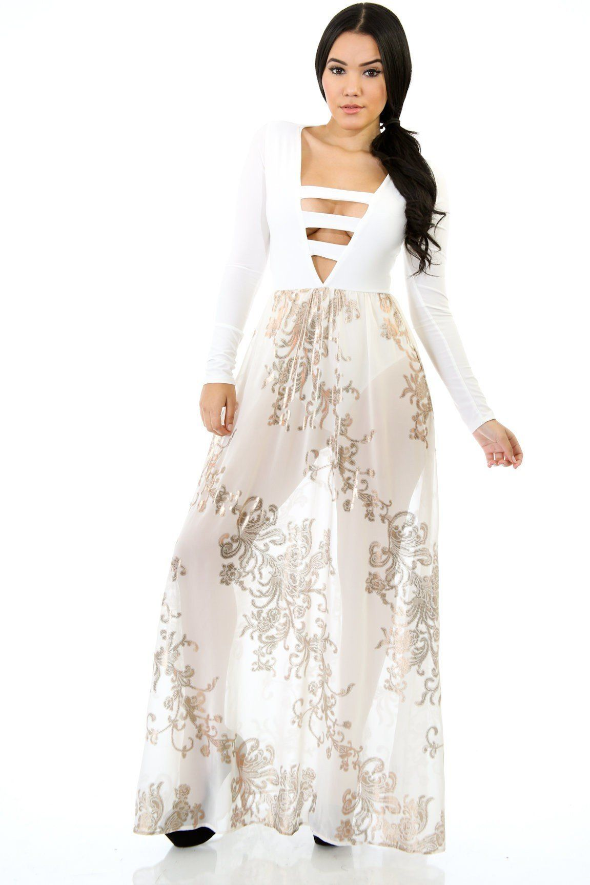 Eva vneckline long sleeves chiffon maxi dress ivory products