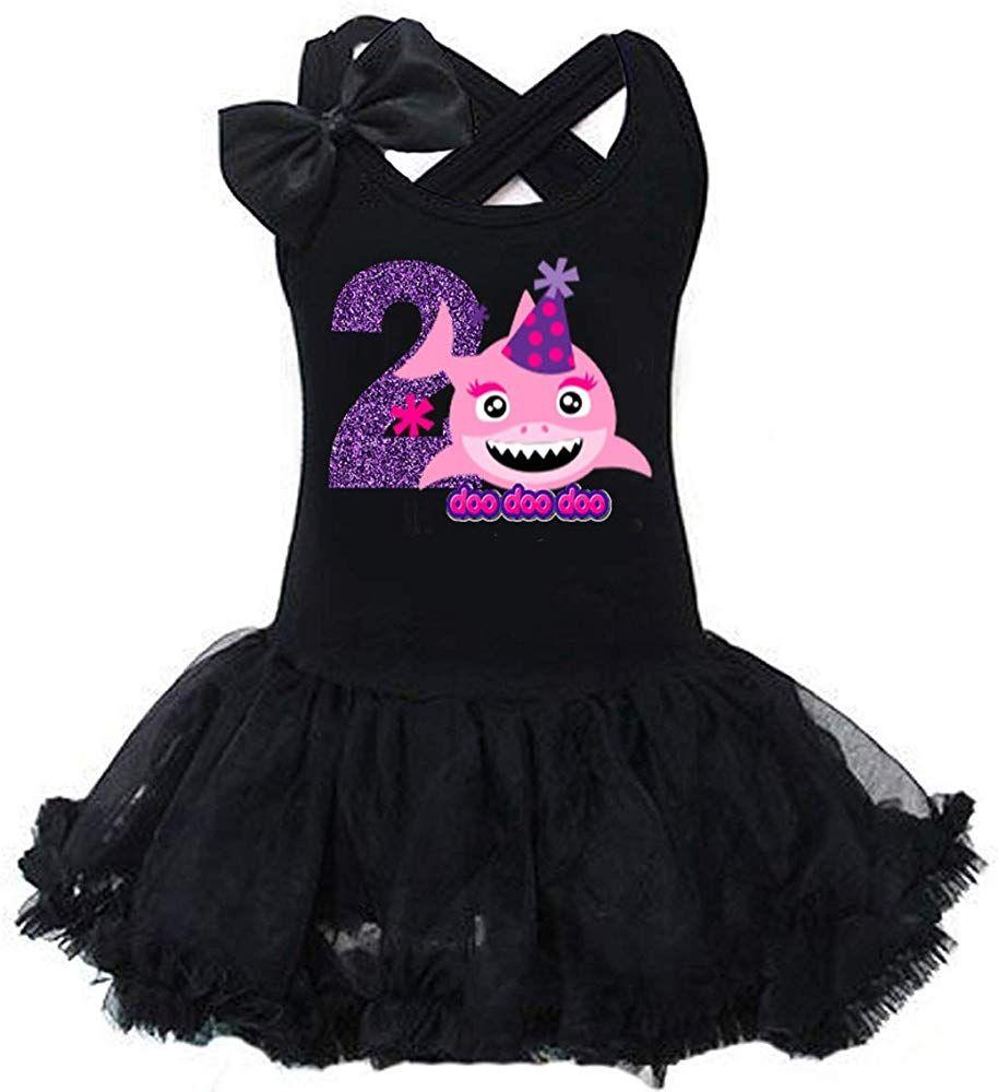 G&G Glitter Shark 2nd Birthday Tutu Dress for 2 Two Year
