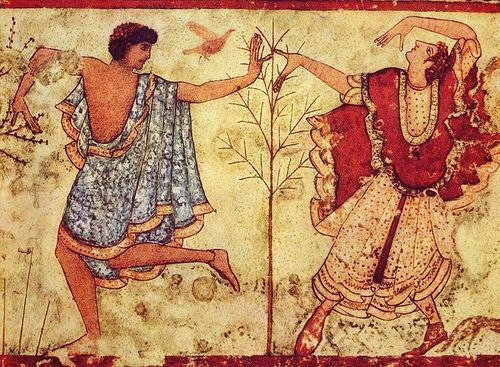 #The_Two_Dancers. In this masterpiece from the Tomb of the Triclinium at Tarquinia, a couple dressed in their finest costume dance into the hereafter. #Etruscan, 480 BCE.  Dancing such as this symbolic dance represents is theorized as contributing to the development of #theatre.