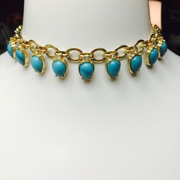 """Lee Angel Turquoise Gold Crystal Accent Necklace BEAUTIFUL! By Lee Angel- Gold Tone @ Turquoise Crystal Accent Choker Necklace. Measures 16"""" in Length with a 3"""" convenience extender. Lobster Claw Closure. RETAIL $79.00 Lee Angel  Jewelry Necklaces"""