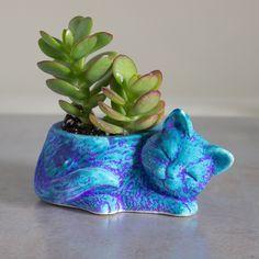 Kitty planter, ceramic succulent planter, handmade pottery planter, velvet purple blue Ceramic plant pot, cat lover gift - READY TO SHIP