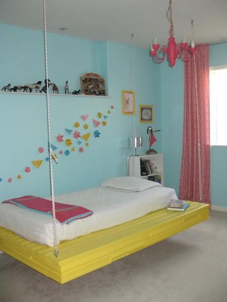 Hanging bed do it yourself home projects from ana white for Suspended beds for kids
