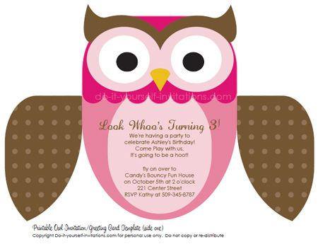 Printable Diy Kids Birthday Invitations Cute Owl Invites Owl Birthday Invitations Birthday Invitations Kids Owl Birthday