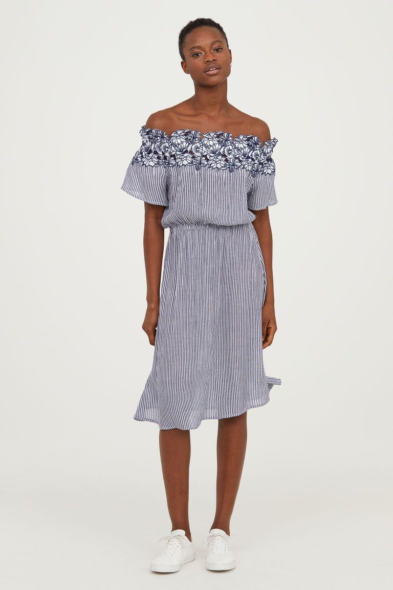 e34283a730b0 Off-the-shoulder Dress - Dark blue striped - Ladies