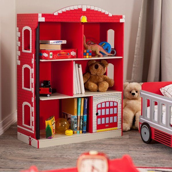 Encourage A Sense Of Adventure And Civic Duty With The Firehouse Bookcase Either Organize Exciting Bookovies About Fast Cars Fire Trucks