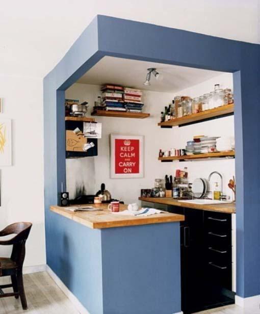 Kuchnia w bloku - mała kuchnia na niebiesko - aranżacja kuchni - kuchnie zdjęcia