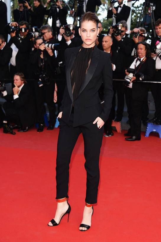 Barbara Palvin Dressed In An All Black, Women's Suit And Red ...