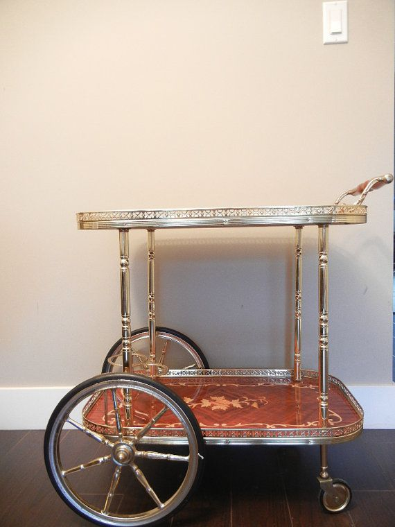 Vintage Bar Cart Italian Gold Chrome And Wood Inlay Excellent Condition Beautiful Woodwork