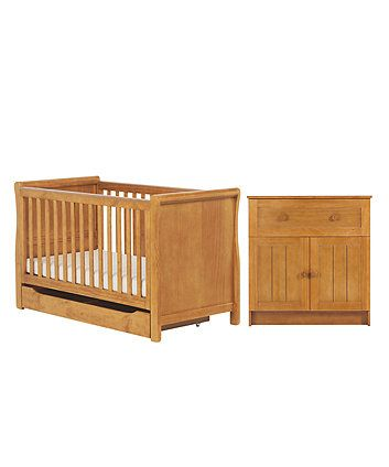 Mothercare Darlington Sleigh 2 Piece Nursery Furniture Set   Antique