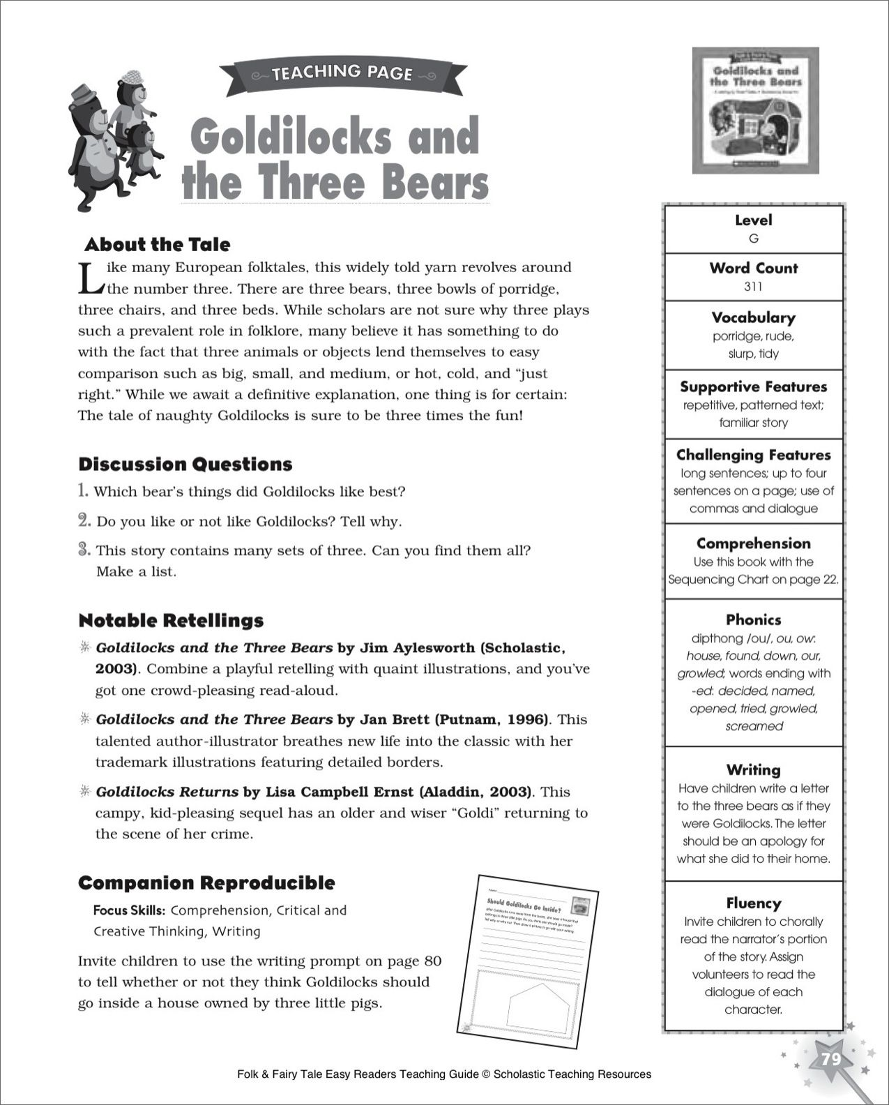 Fairytale Printables Goldilocks And The Three Bears