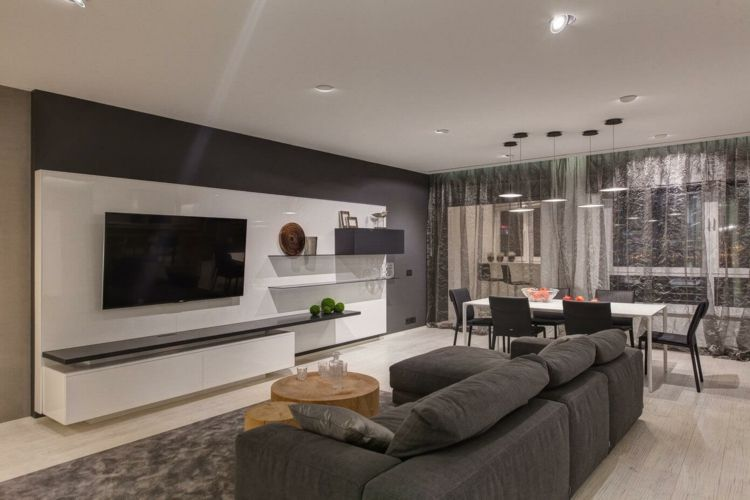 Wohnzimmer einrichten grau weiss  wohnung einrichten in grau wohnzimmer-gestalten-modern-lowboard ...