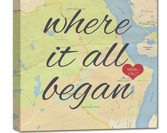 Custom Map art, Where It All Began Personalized gift
