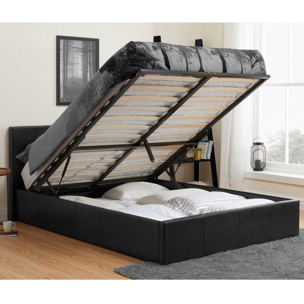 Berlin Black Leather Ottoman Storage Bed Frame 5ft King Size In 2020 Ottoman Storage Bed Black Leather Ottoman Bed Frame With Storage