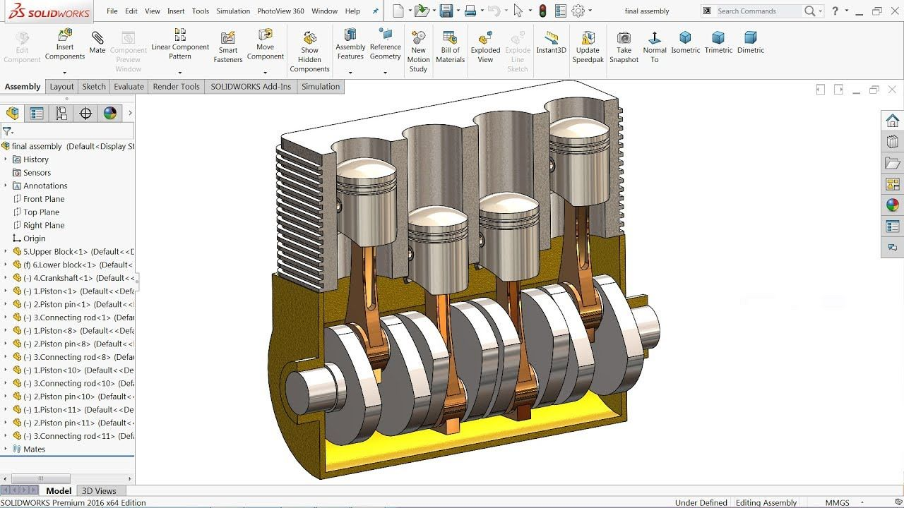 Solidworks Tutorial Design And Assembly Of Engine Youtube Solidworks Tutorial Solidworks Tutorial