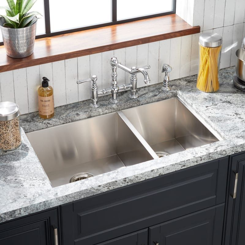 Signature Hardware 447780 Stainless Steel Sitka 33 Drop In Or Undermount 60 40 Double Basin Stainless Steel 4 Hole Kitchen Sink In 2020 Stainless Steel Kitchen Sink Drop In Kitchen Sink Undermount Stainless Steel Sink