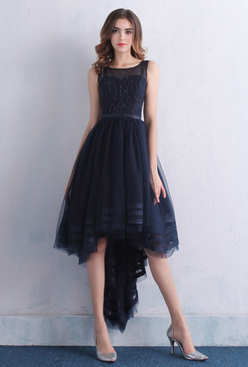 Womenus tulle high low long prom party dress navy blue plus size