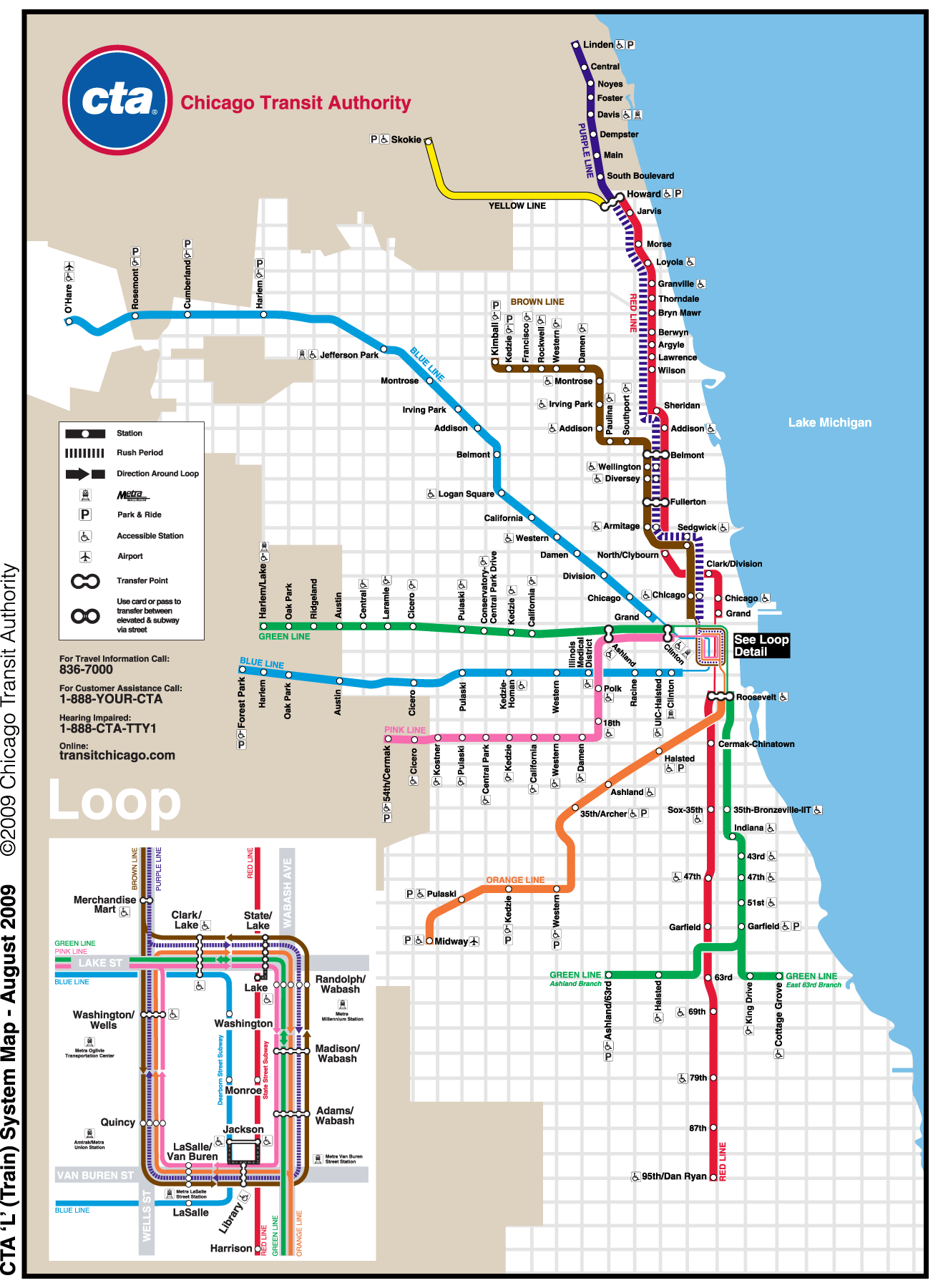 Chicago Subway Map Picture.5801 N River Rd Rosemont Il 60018 To Washington Station19 N