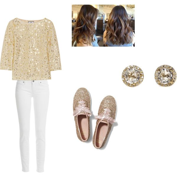 gold by valonso on Polyvore featuring Moschino, Paige Denim, Keds and EF Collection