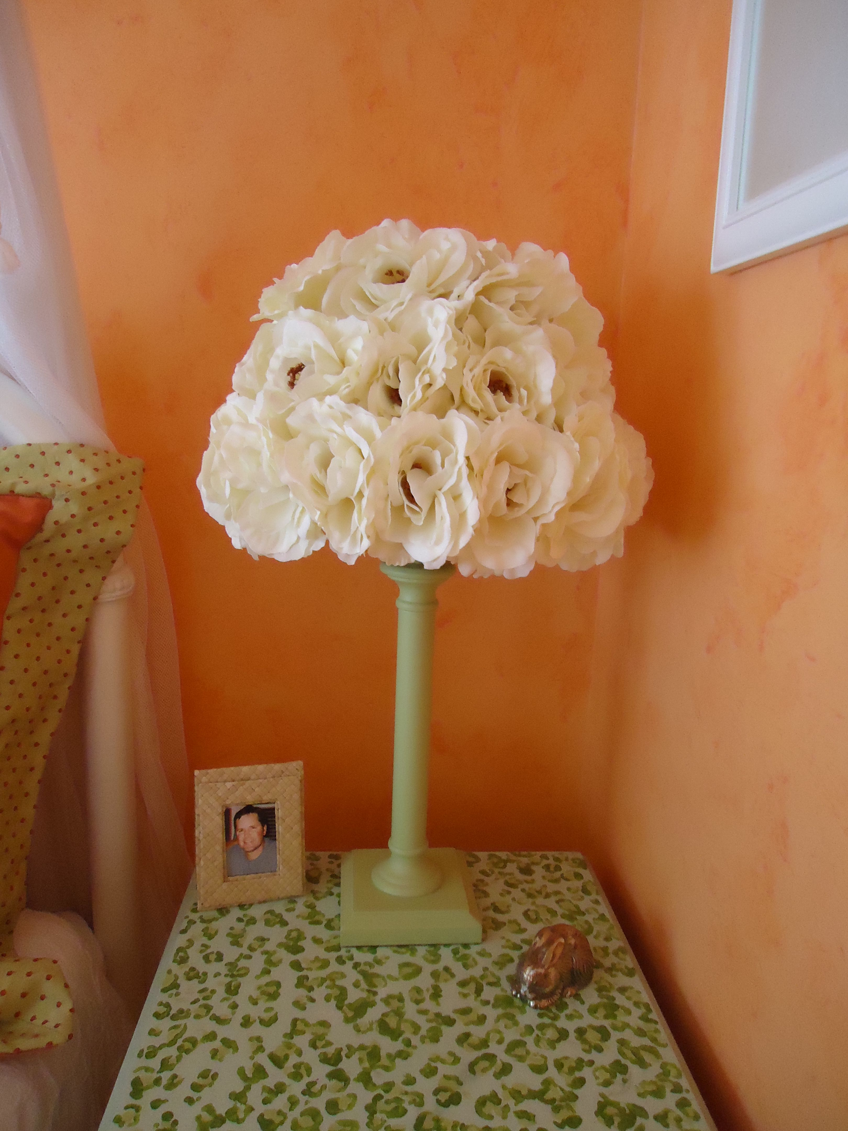 Flower lamp shade refurbished with spray paint and hot glued silk flower lamp shade refurbished with spray paint and hot glued silk flowers cute nice way to cover ugly shade mightylinksfo