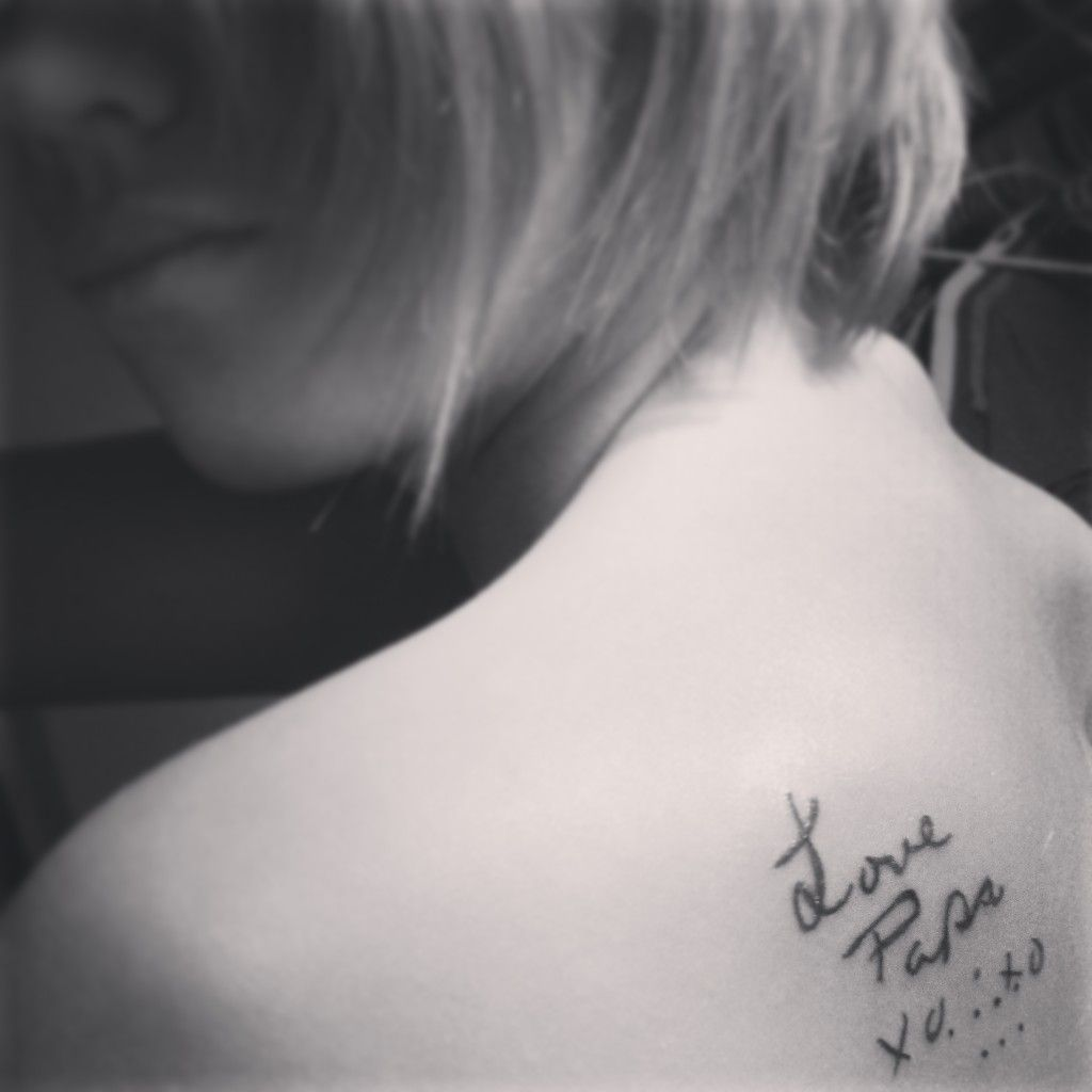 """i got this tattoo in memory of my papa who recently passed away in november. his wife always signed cards, and i came across a rare siganature of his. he bought me a stuffed animal you could write on for my graduation party and he signed this on it . he always added those dots and the x and o's . those dots mean """" i love you """" i love this"""