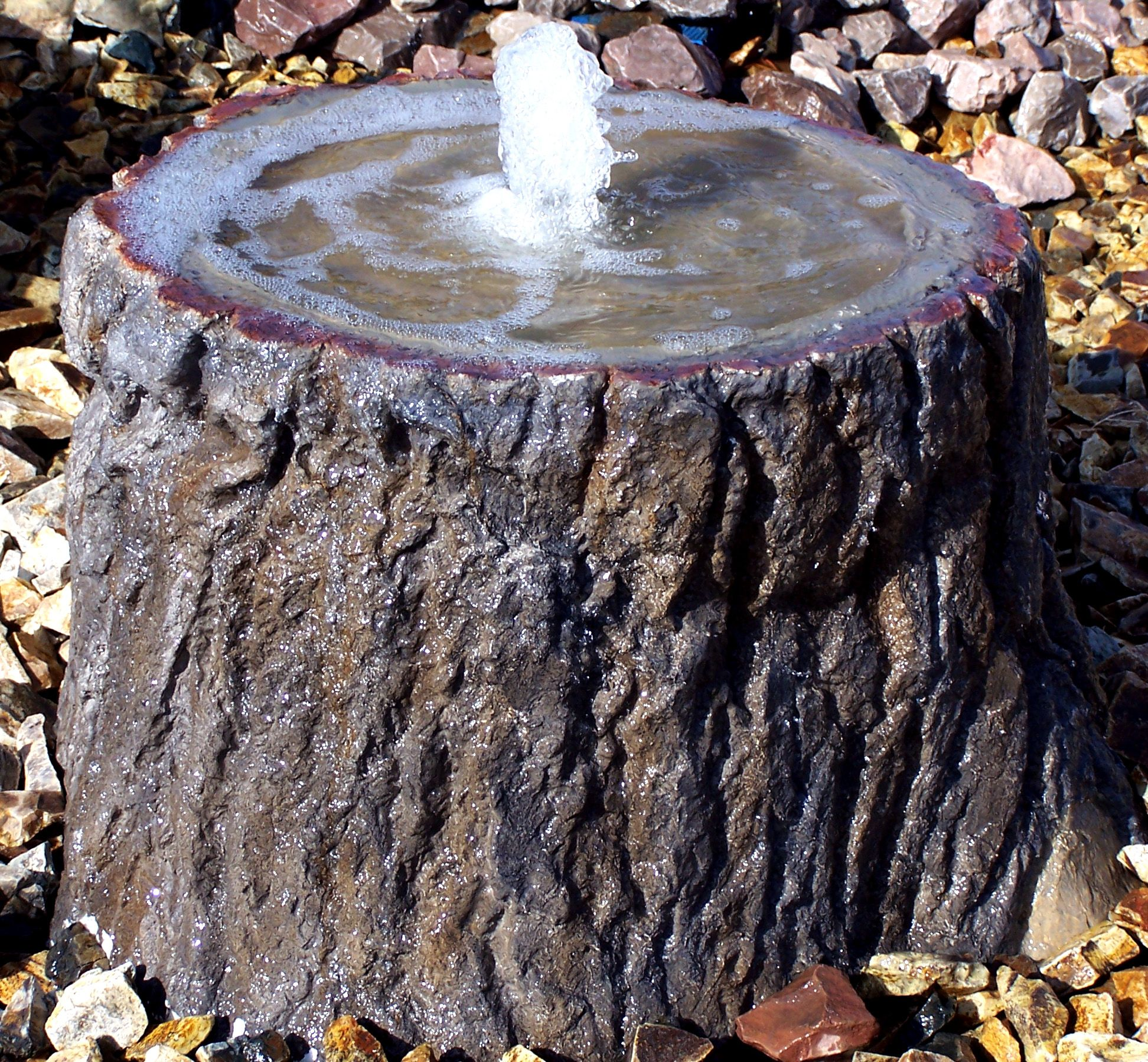 A Concrete Tree Stump Water Feature With Bird Bath Diy