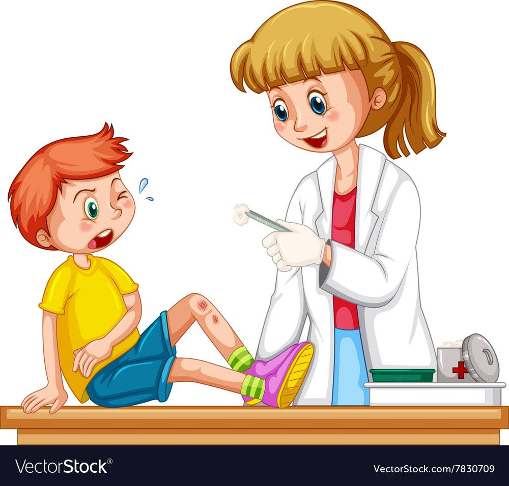 Doctor cleanin up the wound of boy vector image on