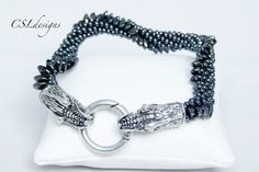 Flying dragon beaded kumihimo bracelet:
