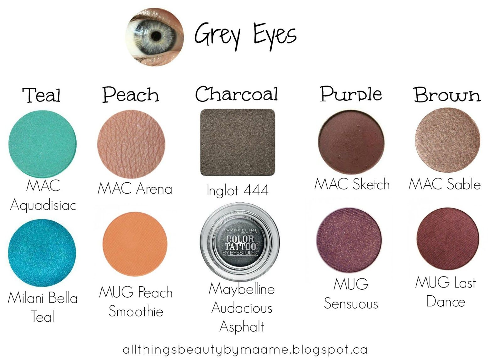 beauty guide : best eyeshadows for your eye colour | grey