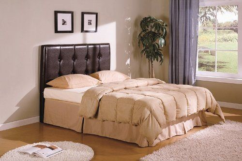 Coaster Button-Tufted Design Leatherette Headboard, Brown, Queen
