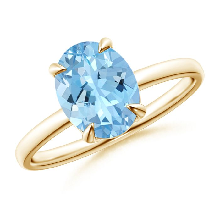 Angara Cushion Aquamarine Solitaire Vintage Ring in Yellow Gold