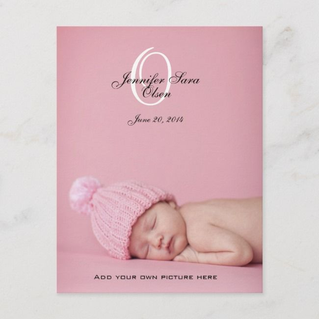New Baby Girl Birth Announcement Photo Post Cards | Zazzle.com