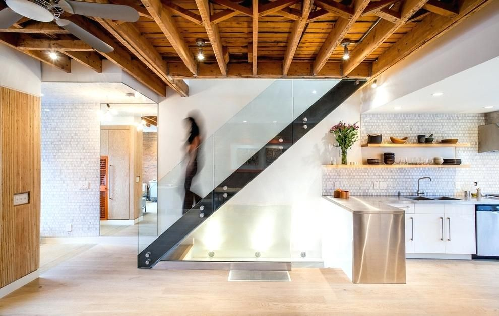 Lighting For Ceiling Beams Google Search With Images Modern Stairs Basement Ceiling Glass Staircase